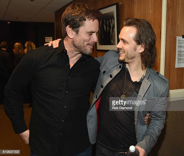 Charles Esten and Jonathan Jackson backstage during Nashville for Africa a benefit for the Africian Childrens Choir at Ryman Auditorium on February...
