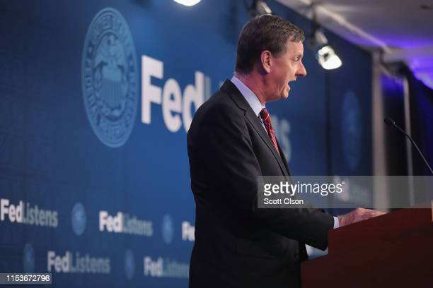 Charles Evans President of the Federal Reserve Bank of Chicago speaks during a conference at the Federal Reserve Bank of Chicago on June 04 2019 in...