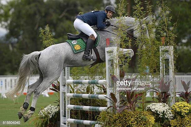 Charles Fernandez of Guatemala competes in Riding during the Men's Modern Pentathlon Tournament - Aquece Rio Test Event for the Rio 2016 Olympics at...