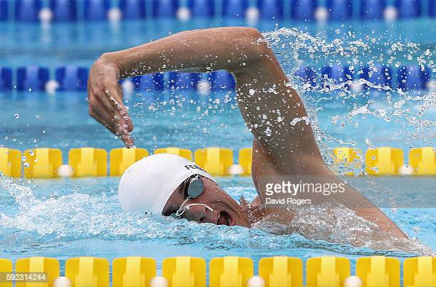 Charles Fernandez of Guatemala during the Men's Swimming Modern Pentathlon on Day 15 of the Rio 2016 Olympic Games at the Deodoro Aquatics Centre on...