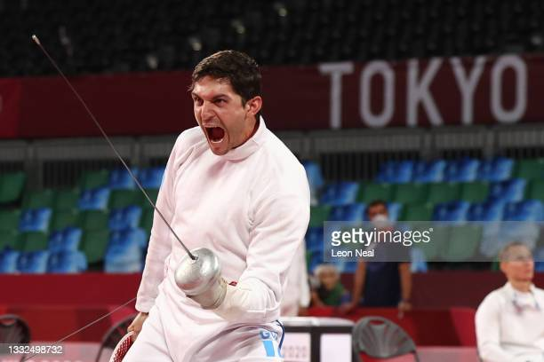 Charles Fernandez of Team Guatemala celebrates during the Fencing Ranked Round of the Men's Modern Pentathlon on day thirteen of the Tokyo 2020...