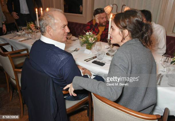 Charles Finch and Sheherazade Goldsmith attend a private dinner celebrating the special screening of 'Journey's End' at Kettner's Townhouse on...