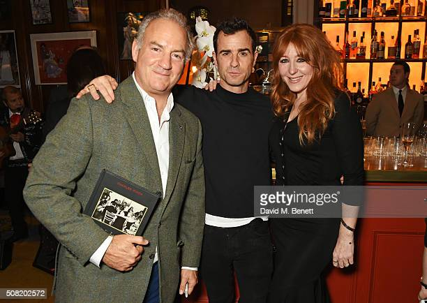 Charles Finch Justin Theroux and Charlotte Tilbury attend the launch of 'The Night Before BAFTA' by Charles Finch at Maison Assouline on February 3...