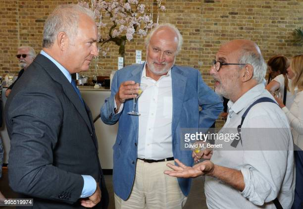 Charles Finch Nick Allott and Alan Yentob attend the launch party for the inaugural Issue of Drugstore Culture at Chucs Serpentine on July 10 2018 in...