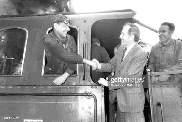 Charles Fiterman, ministre communiste des Transports, lors de la commémoration du service voyageurs des Chemins de fer le 1er mars 1982 à...