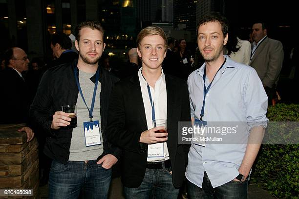 Charles Forman Chris Hughes and Justin Day attend FOUNDERS CLUB New York BARRY DILLER welcome TIM ARMSTRONG JON MILLER at Roof Garden on June 4 2008...