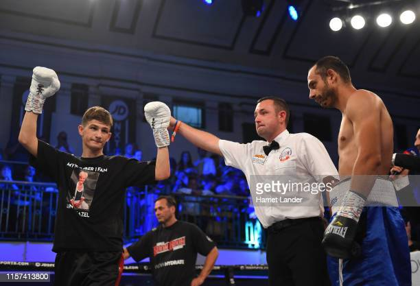 Charles Frankham celebrates following his victory in the Lightweight fight between Charles Frankham and Ilgvars Krauklis at York Hall on June 21 2019...