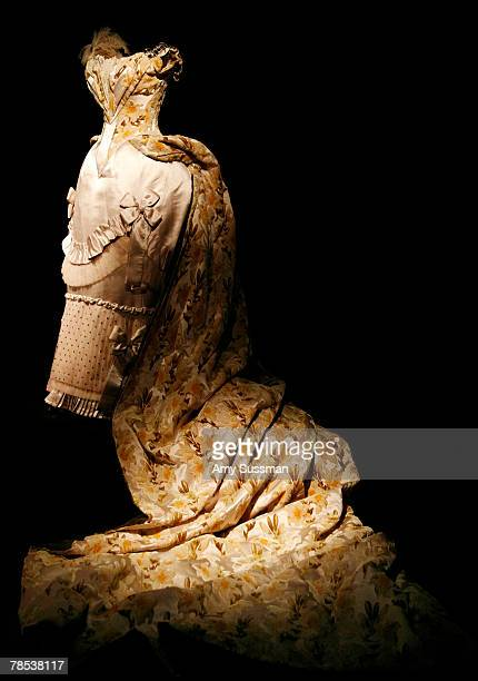 Charles Frederick Worth court gown and train is displayed at the Blogmode addressing fashion exhibit at the Metropolitan Museum of Art's Costume...