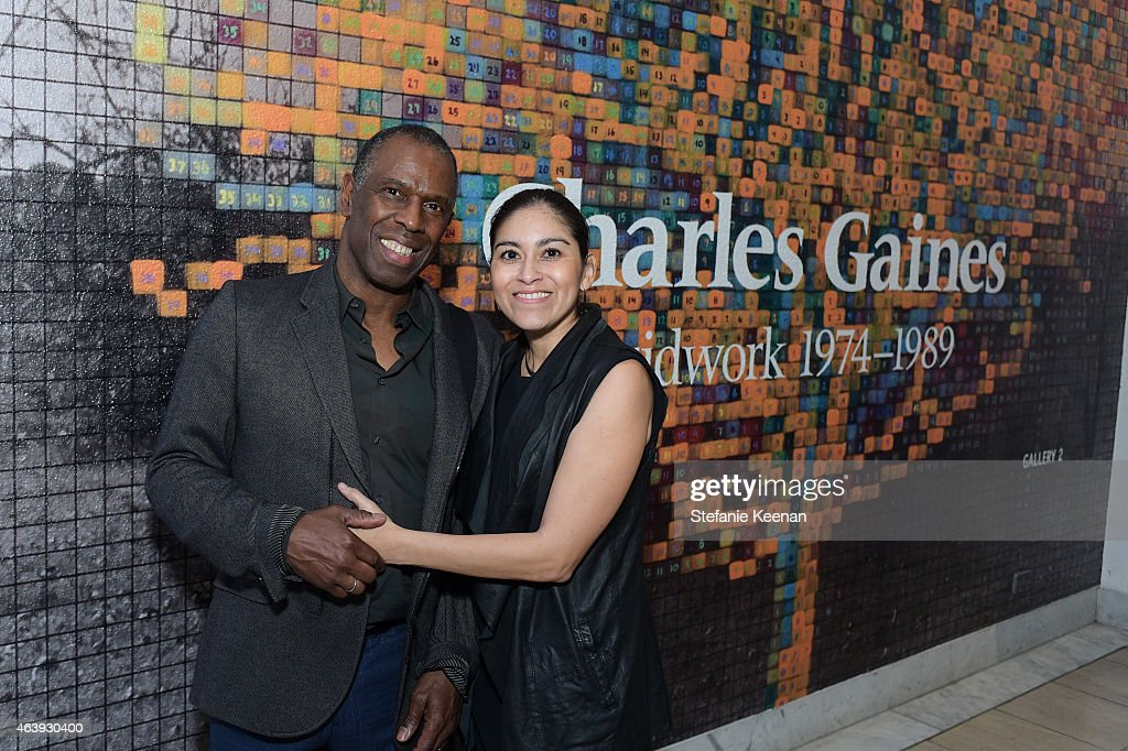 Charles Gaines and Roxana Landaverde attend Hammer Museum's Provocations Presented In Partnership With Burberry - Members' Opening on February 19, 2015 in Los Angeles, California.