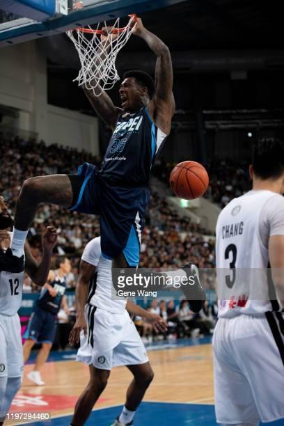 Charles Garcia of Taipei Fubon Braves dunks during the ASEAN Basketball league match between Taipei Fubon Braves and Formosa Dreamers at Taipei...