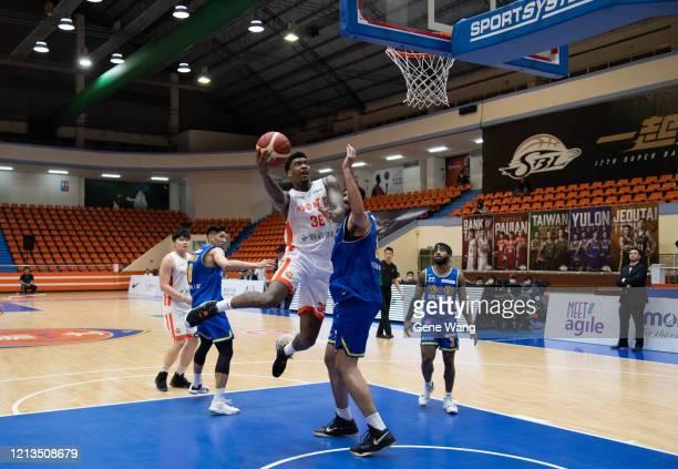 Charles Garcia of Pauian Archiland made a layup shot during the Super Basketball League closed door match between Pauian Archiland and Yulon Luxgen...
