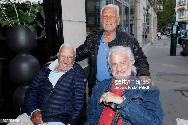 Charles Gerard Alain Belmondo and his brother JeanPaul Belmondo attend the Street Art butterflies by Charlotte Joly Exhibition Preview at Veramente...