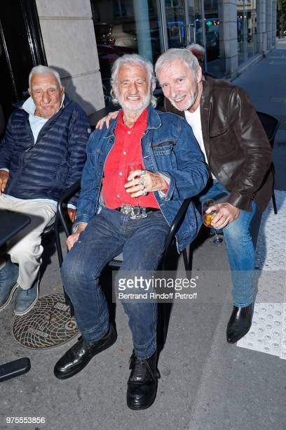 Charles Gerard JeanPaul Belmondo and Geoffroy Thiebaut attend the Street Art butterflies by Charlotte Joly Exhibition Preview at Veramente on June 15...