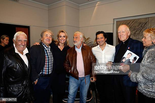 Charles Gerard, Pierre Perret, Christelle Bardet, Jean-Paul Belmondo, Laurent Gerra and Max von Sydow attend the Laurent Gerra One Man Show at...