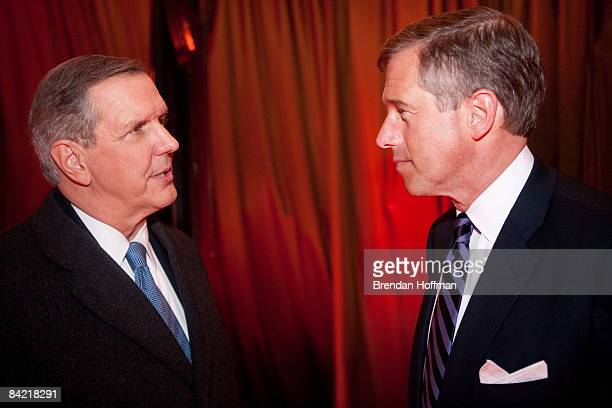 Charles Gibson host of ABC World News talks with Brian Williams host of NBC Nightly News a salute to FOX News Channel's Brit Hume on January 8 2009...