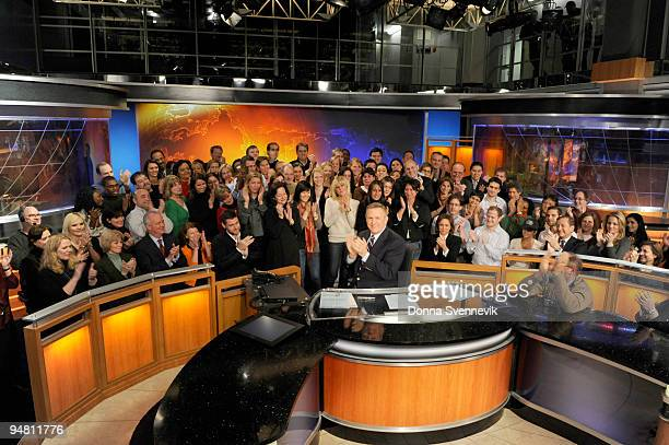 Charles Gibson is surrounded by friends and colleagues during his last broadcast before he retires from a 35 year career at ABC on December 18 2009...