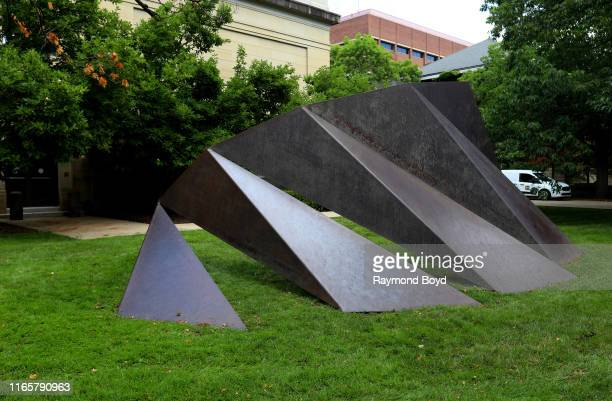 Charles Ginnever's 'Daedalus' sculpture stands outside the University of Michigan Museum of Art at the University Of Michigan in Ann Arbor Michigan...