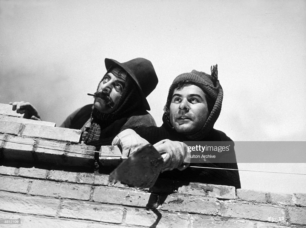 Charles Goldner (1900-1955) and Sam Wanamaker (1919-1993) star in the Plantagenet film 'Give Us This Day' (aka 'Salt and the Devil'), directed by Edward Dmytryk.