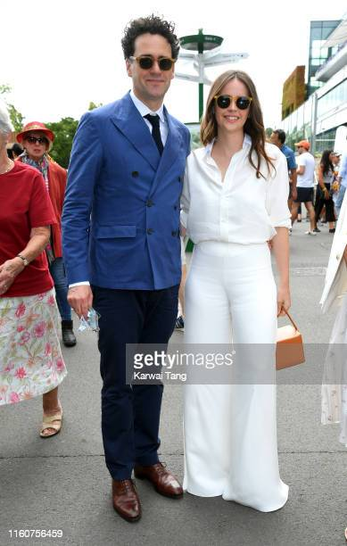 Charles Guard and Felicity Jones attend day seven of the Wimbledon Tennis Championships at All England Lawn Tennis and Croquet Club on July 08 2019...