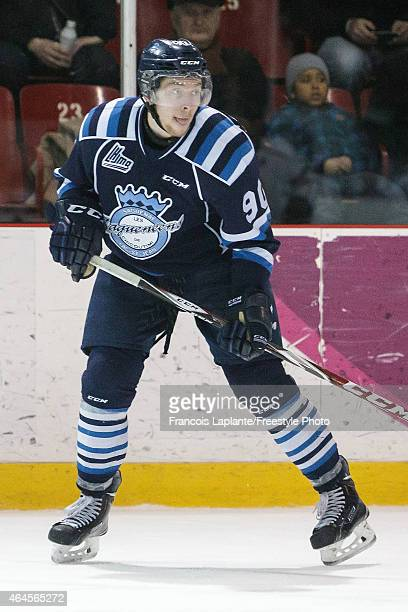 Charles Guevremont of the Chicoutimi Sagueneens skates against the Gatineau Olympiques during a game on February 20, 2015 at Robert Guertin Arena in...