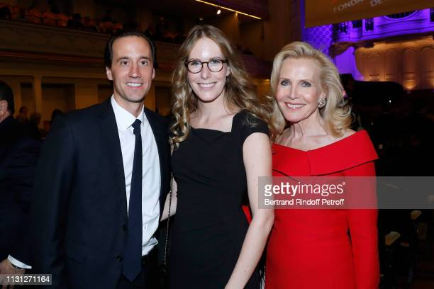 Charles Guyot Charlotte Bouygues and Melissa Bouygues attend the Fondation Prince Albert II De Monaco Evening at Salle Gaveau on February 21 2019 in...