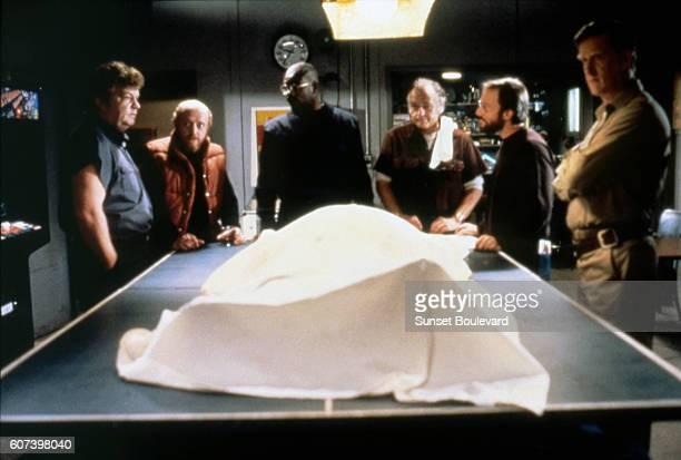Charles Hallahan Peter Maloney Keith David Wilford Brimley Joel Polis and Donald Moffat on the set of The Thing