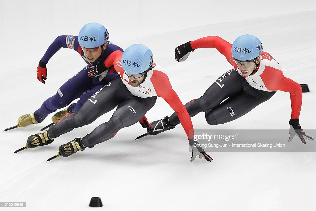 Charles Hamelin and Samuel Girard of Canada and Kwak Yoon-Gy of South Korea compete in the Men 1500m Semifinals during the ISU World Short Track Speed Skating Championships 2016 at Mokdong Icerink on March 12, 2016 in Seoul, South Korea.
