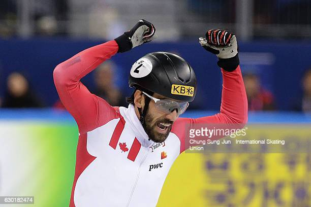 Charles Hamelin of Canada celebrates after winning the Men 1000m Finals during the ISU World Cup Short Track 2016 on December 18 2016 in Gangneung...