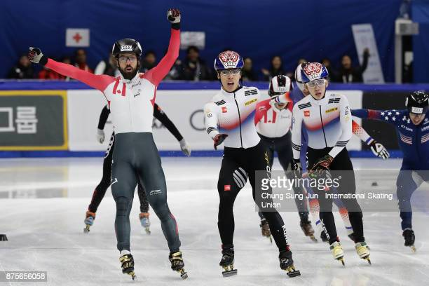 Charles Hamelin of Canada celebrates after winning the Men 1500m Finals during the Audi ISU World Cup Short Track Speed Skating at Mokdong Ice Rink...