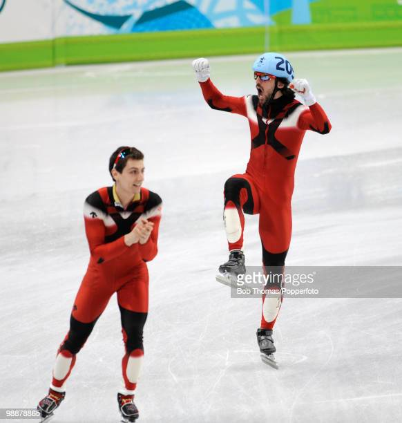 Charles Hamelin of Canada celebrates winning the Men's 5000m Relay Short Track Speed Skating Final on day 15 of the 2010 Vancouver Winter Olympics at...