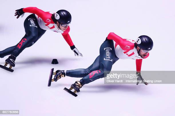 Charles Hamelin of Canada competes in the Men«s 1000m quarter finals race during day two of ISU World Short Track Championships at Rotterdam Ahoy...