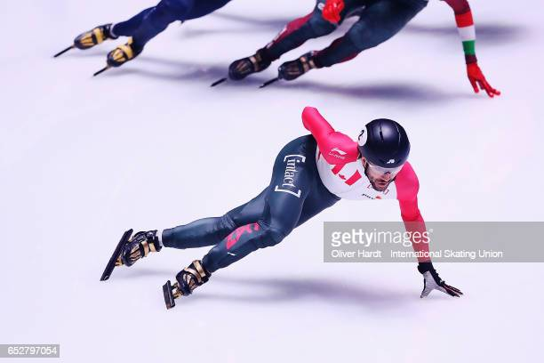 Charles Hamelin of Canada competes in the Men«s 1000m semi finals race during day two of ISU World Short Track Championships at Rotterdam Ahoy Arena...