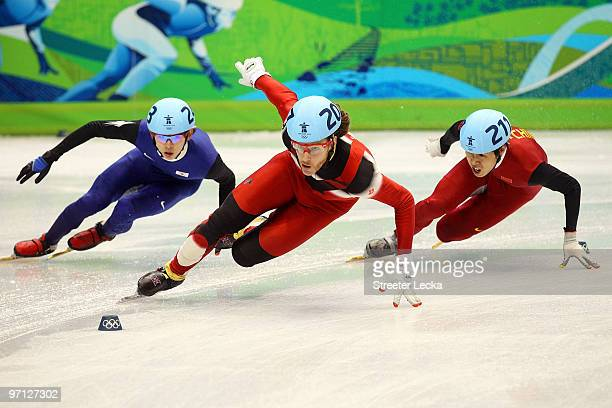 Charles Hamelin of Canada competes in the Men's 5000m Relay Short Track Speed Skating Finals on day 15 of the 2010 Vancouver Winter Olympics at...