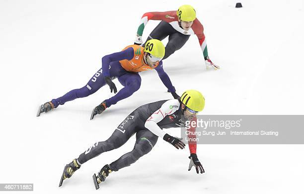 Charles Hamelin of Canada Daan Breeuwsma of Netherlands Viktor Knoch of Hungray compete in the Men 5000M Relay Semifinals during the ISU World Cup...