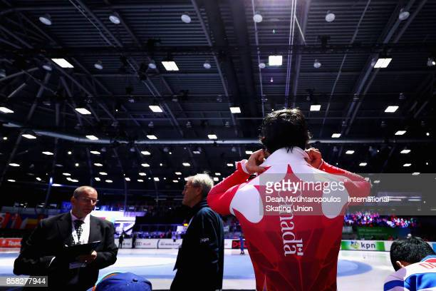 Charles Hamelin of Canada gets ready to compete in the Mens 1000m Preliminaries during the Audi ISU World Cup Short Track Speed Skating at Optisport...
