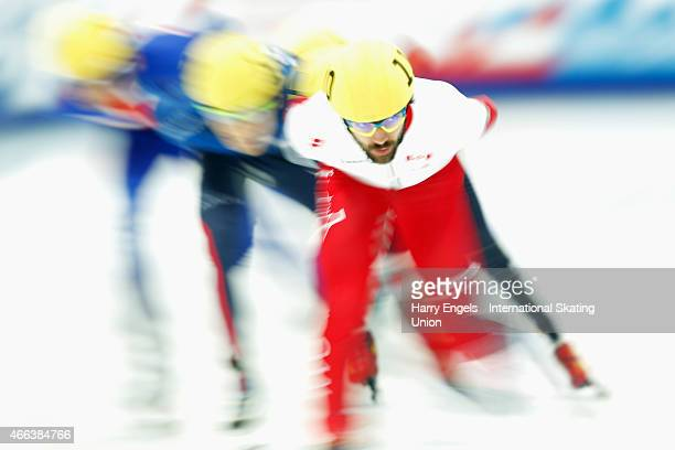 Charles Hamelin of Canada leads the field during the Men's 1000m Quarterfinals on day three of the ISU World Short Track Speed Skating Championships...