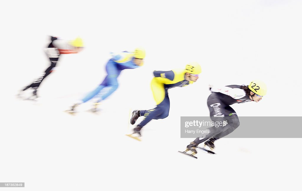 Charles Hamelin of Canada leads the group during the Men's 1000m pre-preliminaries on day two of the Samsung ISU Short Track World Cup at the Palatazzoli on November 8, 2013 in Turin, Italy.