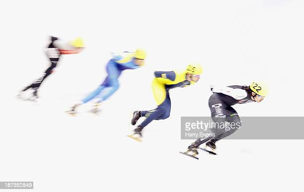 Charles Hamelin of Canada leads the group during the Men's 1000m prepreliminaries on day two of the Samsung ISU Short Track World Cup at the...