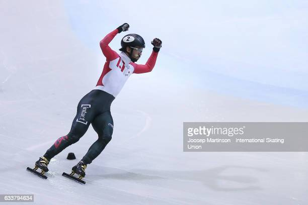 Charles Hamelin of Canada racts in the Men's 1500m final during day one of the ISU World Cup Short Track at EnergieVerbund Arena on February 4 2017...