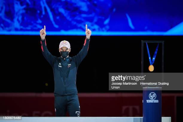 Charles Hamelin of Canada reacts in the Men's 1500m medal ceremony during day 2 of the ISU World Short Track Speed Skating Championships at...
