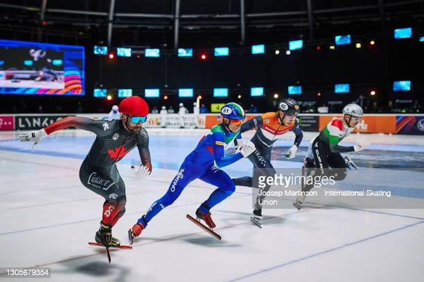 Charles Hamelin of Canada starts in the men's 500m semi-final during day 2 of the ISU World Short Track Speed Skating Championships at Sportboulevard...