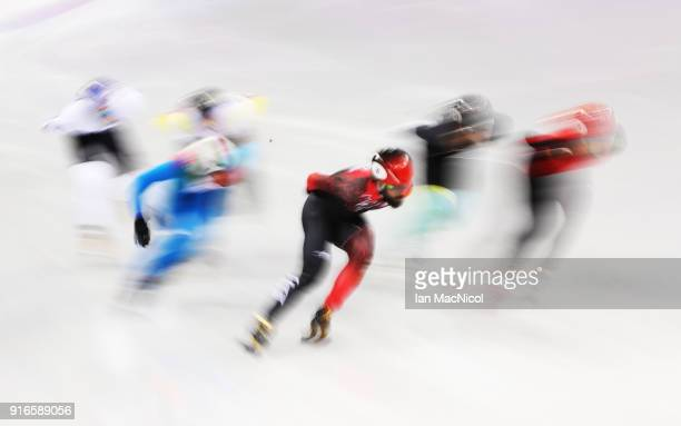 Charles Hamlin of Canada racing during the Men's 1500m heats of the Short Track Speed Skating on day one of the PyeongChang 2018 Winter Olympic Games...