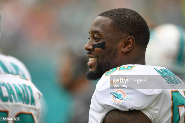 Charles Harris of the Miami Dolphins looks on during the game against the New York Jets at Hard Rock Stadium on October 22 2017 in Miami Gardens...
