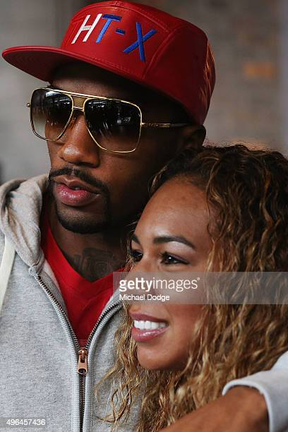 Charles Hatley of the USA hugs his wife Precious after the weigh in ahead of tomorrow night's fight against Anthony Mundine of Australia on November...