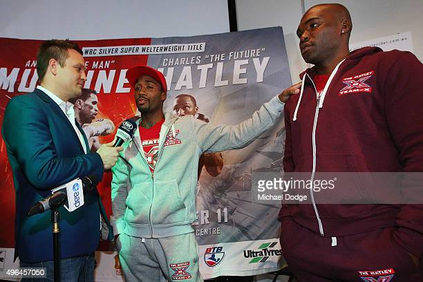 Charles Hatley of the USA speaks to media during the weigh in ahead of tomorrow night's fight against Anthony Mundine of Australia on November 10...