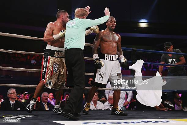 Charles Hatley of the USA wins against Anthony Mundine of Australia after the Mundine camp threw in the whote towel during their bout at The...