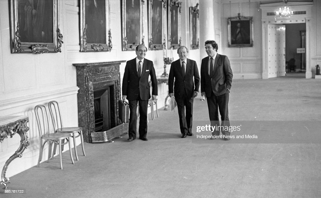 Charles Haughey, John Hume, and Gerry Collins at Dublin Castle on their way to the meeting of the New Ireland Forum, circa October 1983. (Part of the Independent Newspapers Ireland/NLI Collection).