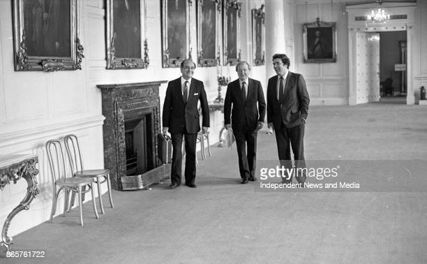Charles Haughey John Hume and Gerry Collins at Dublin Castle on their way to the meeting of the New Ireland Forum circa October 1983