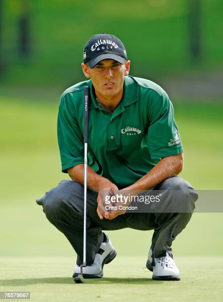 Charles Howell III checks his line on the 16th green during the second round of the BMW Championship the third event of the new PGA TOUR Playoffs for...