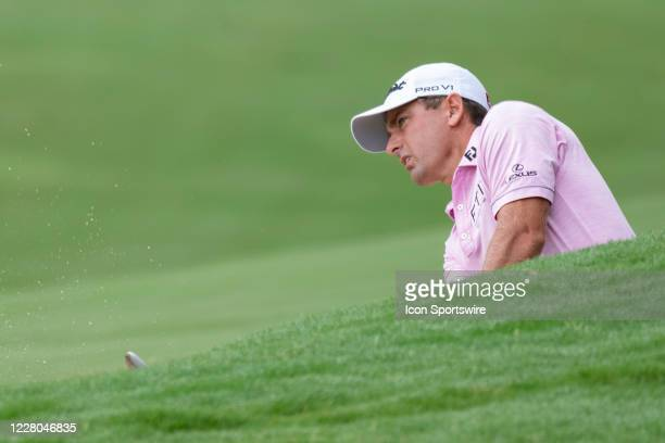 Charles Howell III hits from the fairway bunker on the 15th hole during the second round of the Wyndham Championship golf tournament at Sedgefield...